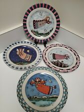 Set of 4  Decorative Folk Art Country Angel Plates each w/ a different Angel
