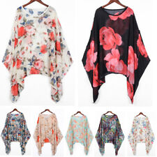 Ladies Baggy Oversize Plus Size Batwing Tunic Top Blouse Floral Chiffon Kaftan