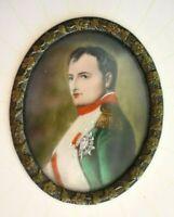 Antique French Napoleon Bonaparte Miniature Portrait Painting In Picture Frame
