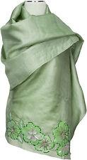 Schal Grün Green  Organza Seide silk bestickt scarf stole hand embroidered soie