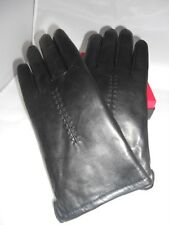 Ladies Aigner White Rabbit Fur Lined Leather Gloves,Black