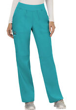 Scrubs Cherokee Workwear Mid Rise Pull On Pant Ww110 Tlb Teal Blue Free Shipping