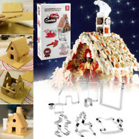 Christmas 9pcs/set Cookie Cutters 3D Gingerbread House Stainess Steel Cake MouCR