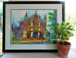 Original Watercolour Painting St Albans Cathedral By Ann Marie Whitton