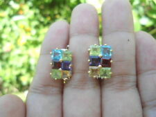 Natural SWISS BLUE TOPAZ, PERIDOT, AMETHYST & GARNET 925 Silver EARRINGS 2-tone