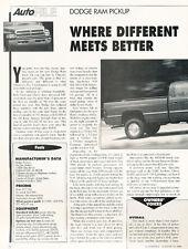 1994 Dodge Ram Pickup Truck  -  Classic Car Original Print Article J69