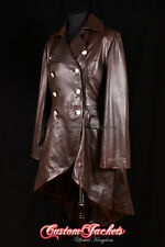 Ladies ENVY Brown Victorian Military High Fashion Long Leather Jacket Tailcoat