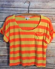 deLiAs Top Size Medium Orange Yellow Striped Crop Top 80's Style pocket