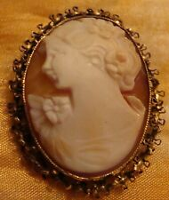 Vintage Cameo Shell Pin/Pendant 12 Karat Gold Filled Beautiful Lady Shell Cameo