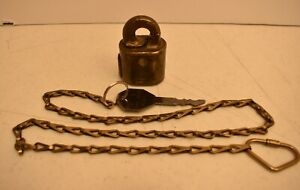 US Mail Reg'd Brass Rotary Lock with Authentic Key & Chain Postal USPS