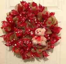 Valentine's Day Bear, Valentines Day Decor, Valentines Day welcome door wreath