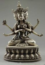 Tibetan Buddhist Tibet Silver Carved Buddha Three heads Six arms Buddha Statue