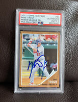 Mike Trout Signed 2011 Topps Heritage Minors Card Psa/Dna Slabbed + Graded Auto