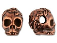 SKULL Bead ROSE Gold Pewter TierraCast Rose Skull 4 x10mm side drilled beads USA