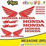 Kit 14pz. adesivi replica Honda Hornet moto casco colore Rosso