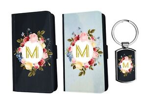 PERSONALISED Initials Flip Leather Floral Wallet Phone Case Cover + Keyring