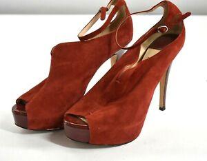 La Fenice Venezia Womens Red Leather Suede Peep Toe Stiletto Heels Ankle Strap 8