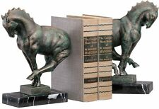 Set of 2 Art Deco Horses Cast Iron Sculptures Bookends on marble bases