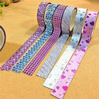 10PCS DIY Self Adhesive Glitter Washi Masking Tape Sticker Craft Decor 15mmx3m