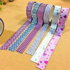Lot 10x DIY Self Adhesive Glitter Washi Masking Tape Sticker Craft Decor 15mmx3m