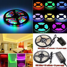 5M SMD 3528 5050 Flexible 300 LED Strip Light 44K Remote Power Supply Waterproof