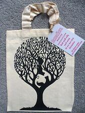 Paper Panda Canvas Book Bag - Exclusive - Squirrels in Tree Paper Cut Print NEW