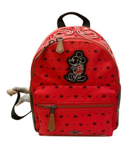 NWT Coach X F59831 Mickey Mouse Mini Charlie Backpack Prairie Bandana Limited