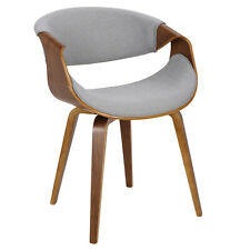 Curvo Mid-Century Modern Dining/Accent Chair in Light Grey and Walnut