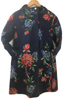 Joules UK 8 Navy Blue Southcote Jacket Hooded Showerproof Floral