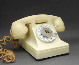 VINTAGE ALL ORIGINAL IVORY WESTERN ELECTRIC BELL TELEPHONE 302 CLOTH CORD