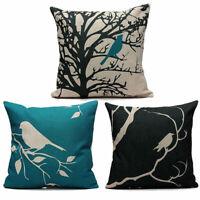 Home Decor Brief Bird Linen Waist Throw Pillow Case Back Cushion Cover Square