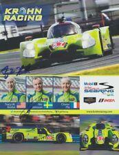 2015 Krohn Racing Judd Ligier JS P2 signed Sebring IMSA TUSC postcard 3 Drivers