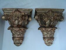 Regal Pair of Large Resin Wall Corbel Shelves Sconce Brackets - Gold/Bronze