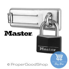 Master Lock 9150704DBLK (50mm) Black Padlock and (115mm) Hasp  (3520190934208)