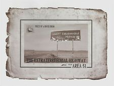 Near AREA 51 ROCK PIECE from the EXTRATERRESTRIAL HIGHWAY stone relic, NV, UFO,