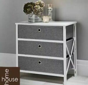 Folding Grey & White 3-Drawer Storage Draws Living Room Hallway Bedroom