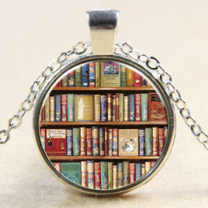 Book Lover Library Shelf necklace 24 inch Chain writer author literary gift