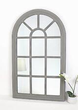 """Arabella Grey Shabby Chic Arch Window Wall Mirror 56"""" x 32"""" (139cm x 79cm)"""
