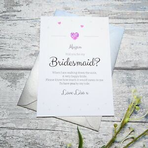 Will You Be My Bridesmaid, Maid of Honour, Flower Girl Request / Invitation Card