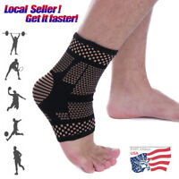 Copper Ankle Support Brace Compression Sleeve Medical Sports Foot Arthritis Wrap
