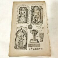 Authentic Antique 1700-1800's Engraving Plates On Paper — Artwork Art Old - C