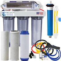 RO/DI Dual Outlet Drinking water/Aquarium Filter Core System Clear Housings 100G