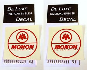 DeLuxe By Virnex Decals Red and White Monon 2.5 Inches Herald D-163 -Two Decals-