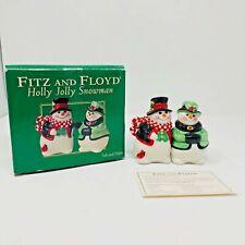 Fitz and Floyd Holly Jolly Snowman Salt & Pepper Shakers 2004