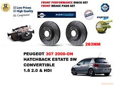 Für Peugeot 307 2.0hdi 90bhp 00-on Performance Bremsscheiben Set +Bremsbeläge