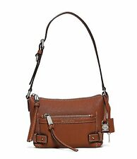 Michael Kors Abby Abbey Small Goat Leather Shoulder Bag (Walnut)