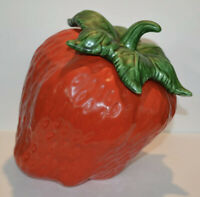 "Vintage Ceramic ""Tilted"" Strawberry Cookie Jar"