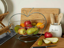 CHROME FRUIT BASKET DURABLE METAL FRESH FRUIT BASKETS APPLE ORANGES STORAGE BOWL
