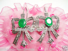 2.05ct ROSE CUT DIAMOND EMERALD ANTIQUE VICTORIAN LOOK 925 SILVER STUDS EARRING