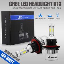 H13 160W 16000LM CREE LED Headlight Kit High/Low Beam Bulbs 6000K-6500K Power US